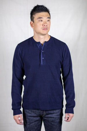 Stevenson Overall Co. Long Sleeve Waffle Knit Henley - Indigo - Franklin & Poe