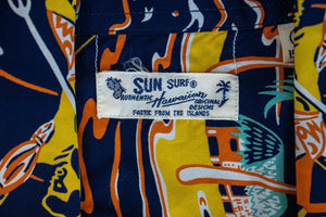 Sun Surf Torch Fisherman Hawaiian Shirt - Navy