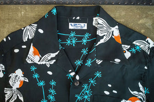Sun Surf Gold Fish With Luck Hawaiian Shirt - Black