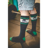Left Field Skull Head Stripe Tube Sock - Grey/Green/Black
