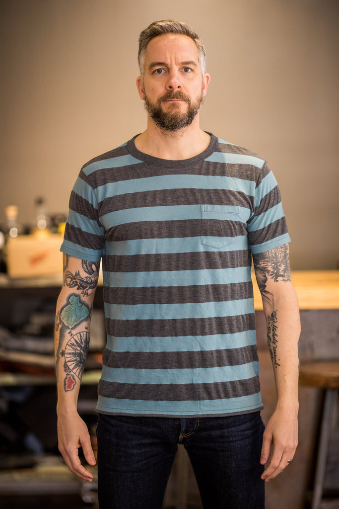 Velva Sheen Big Stripe Crew Neck Pocket T-Shirt - Heather Blue/Charcoal - Franklin & Poe