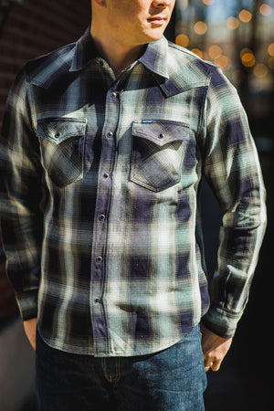 Iron Heart IHSH-276-IND 9oz Selvedge Ombré Check Western Shirt - Indigo/Grey