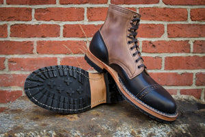 White's Boots x Franklin & Poe MP Service Boot (F&P Serial No. 19-005) Black and Tan - Black and Natural Chromexcel Leather