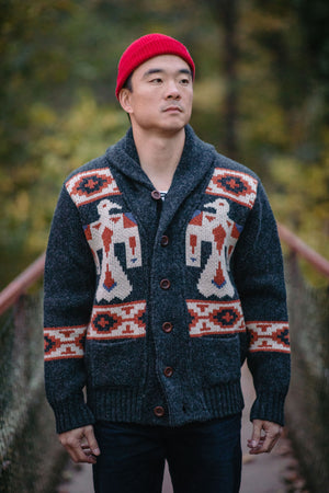Eat Dust Knit Cardigan - Eagle Shetland Antracid - Franklin & Poe