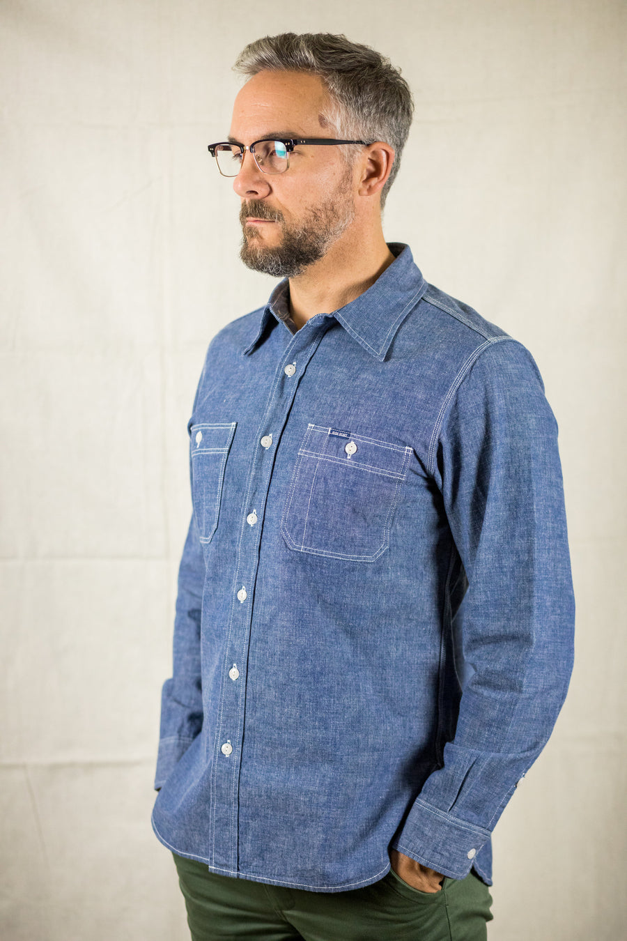 Iron Heart IHSH-21-ind - Indigo 10oz Selvedge Chambray Work Shirt - Franklin & Poe