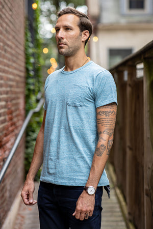 Left Field NYC Light Blue Chambray Pocket Tee