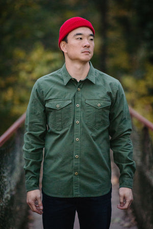 Freenote Cloth Dayton - Army Green Nep - Franklin & Poe