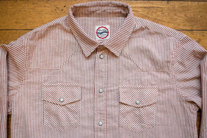 Eat Dusts Western Shirt Liberty Stripe - White/Red