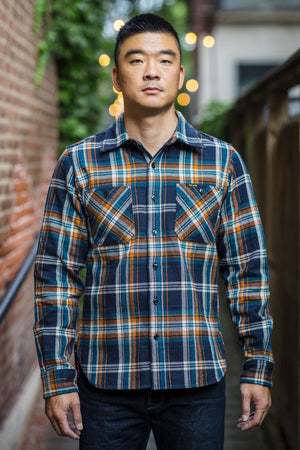Iron Heart IHSH-263-NAV Ultra Heavy Flannel Crazy Check Work Shirt - Navy