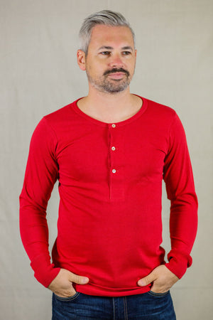 Merz b. Schwanen 206 Henley Long Sleeve - Red - Franklin & Poe