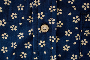 3sixteen Short Sleeve Button Down Shirt - Blue Sakura Print
