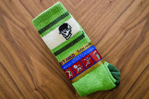 Left Field Skull Stripe Super Plush Tube Socks - AstroTurf