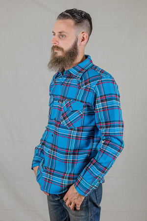 Iron Heart IHSH-207 Sax Ultra Heavy Flannel Almost Crazy Check Western Shirt - Franklin & Poe