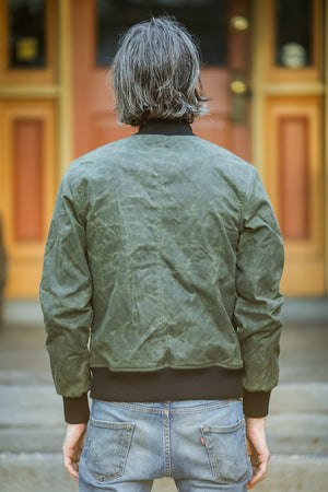 3sixteen Stadium Jacket - Olive Waxed Canvas - Franklin & Poe