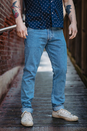 C.O.F. Studio M7 Tapered - 12.5 oz. Indigo Selvedge in 9X Wash - Franklin & Poe