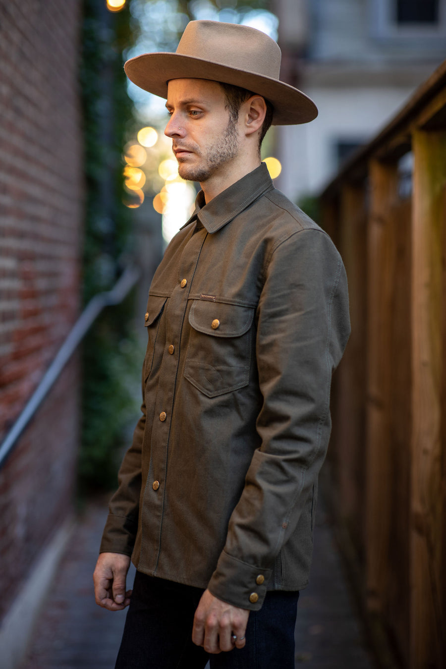 Indigofera Copeland Shirt - Dark Green Canvas