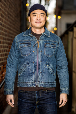 C.O.F. Studio Denim Zip Jacket Sherpa - 5x Wash