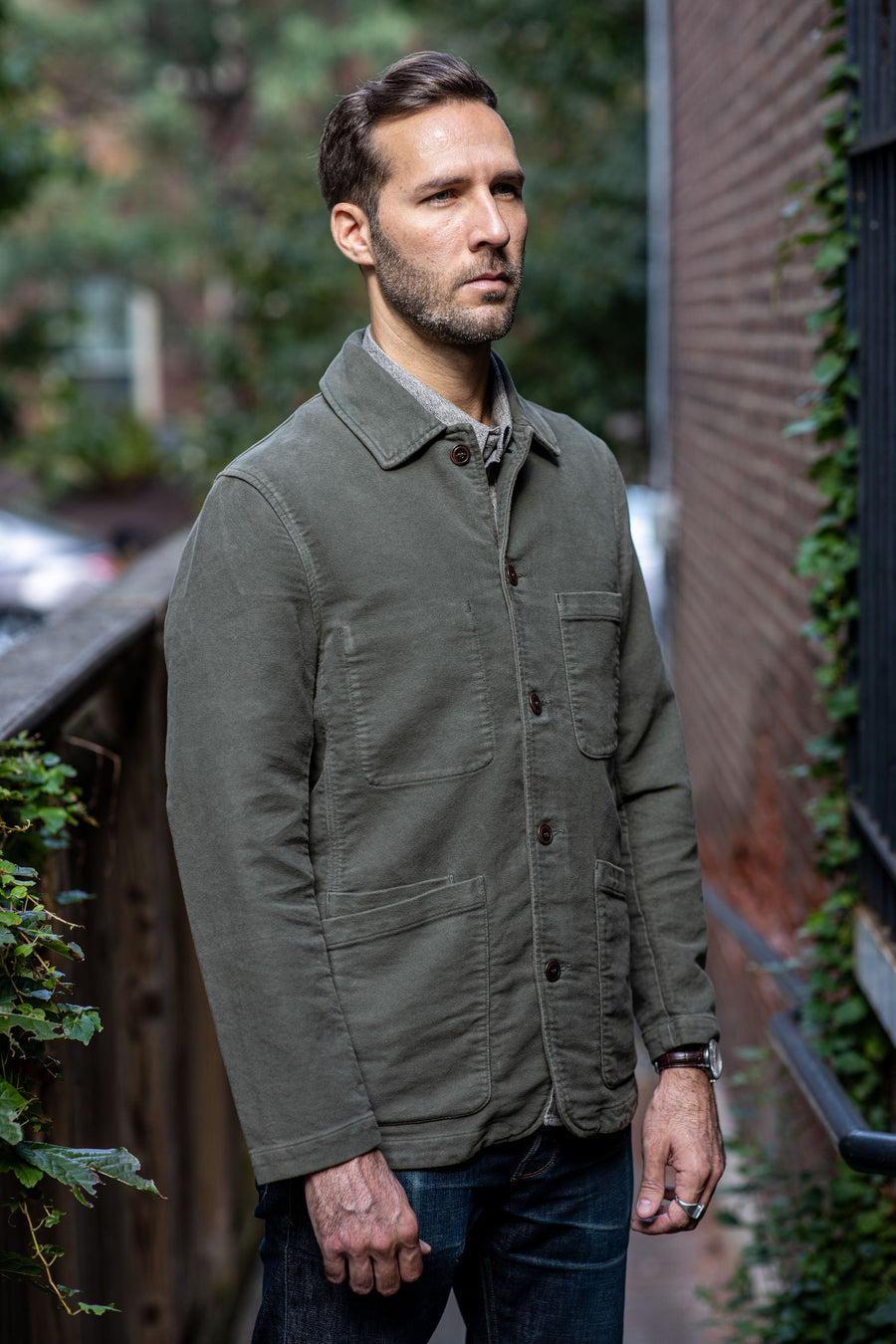C.O.F. Studio Brewer Jacket Moleskin - Military