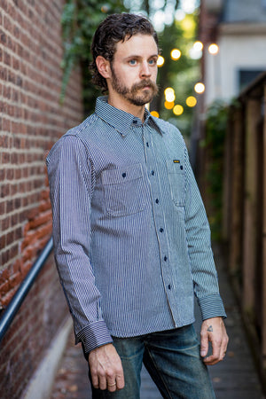Iron Heart IHSH-274 12oz Hickory Stripe Work Shirt - Indigo