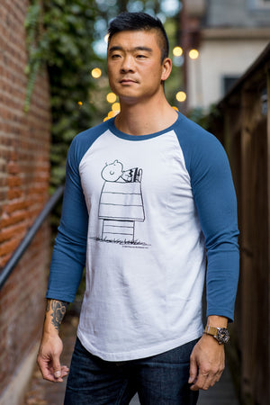TSPTR Charlie Brown Dog Days Baseball 3/4 Tee - White/Navy