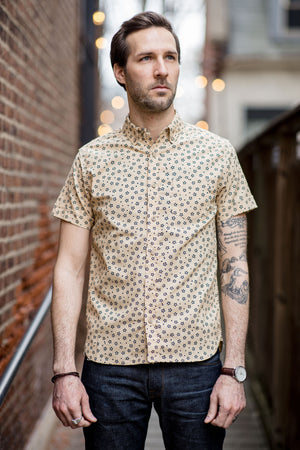 3sixteen Short Sleeve Button Down Shirt - Tan Sakura Print