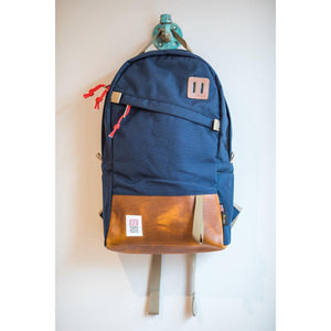 Topo Designs Day Pack - Navy/Brown Leather - Franklin & Poe
