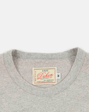Dehen 1920 Heavy Duty Long Sleeve Tee Single Pocket - Heather Grey