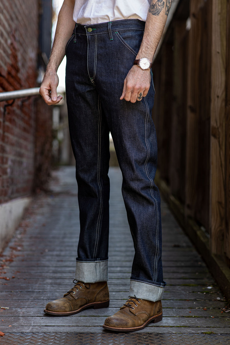 Left Field NYC Work Uniform Jean - 13oz Cone White Oak Broken Twill