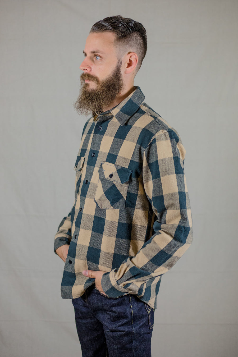 Indigofera Norris Shirt - Khaki and Charcoal - Franklin & Poe