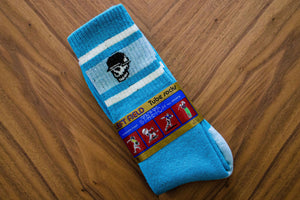 Left Field Skull Stripe Super Plush Tube Socks - Bermuda Blue