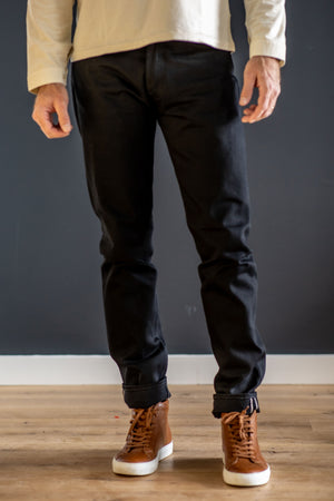 Indigofera Nash - 14 oz. Thunder Black Selvedge Denim - Franklin & Poe