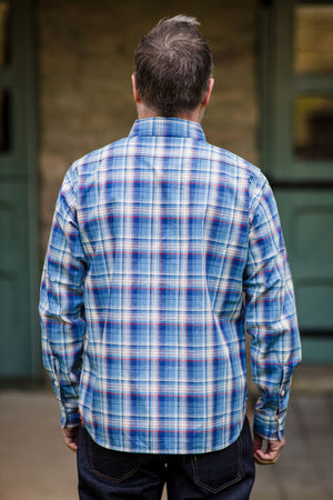 Iron Heart IHSH-226-IND 5.5oz Madras Check Work Shirt - Indigo