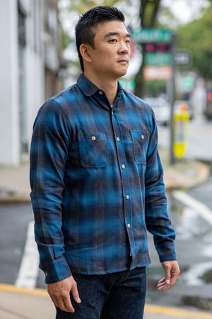 3sixteen Utility Shirt - Navy/Black Ombre