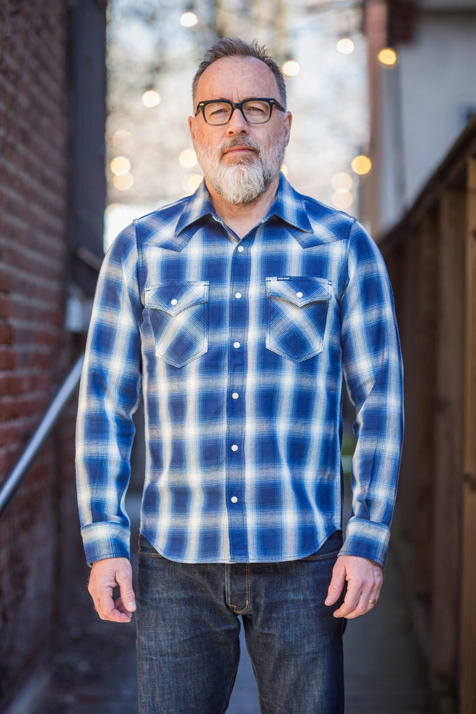 Iron Heart IHSH-196 - Indigo Check Flannel Western Shirt - Franklin & Poe