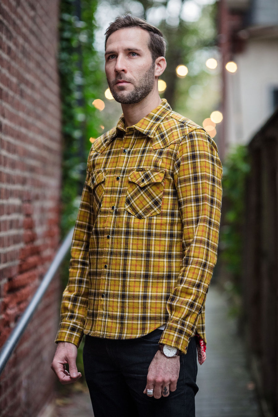 Iron Heart IHSH-230-MUS - Ultra Heavy Flannel Crazy Check Western Shirt - Mustard