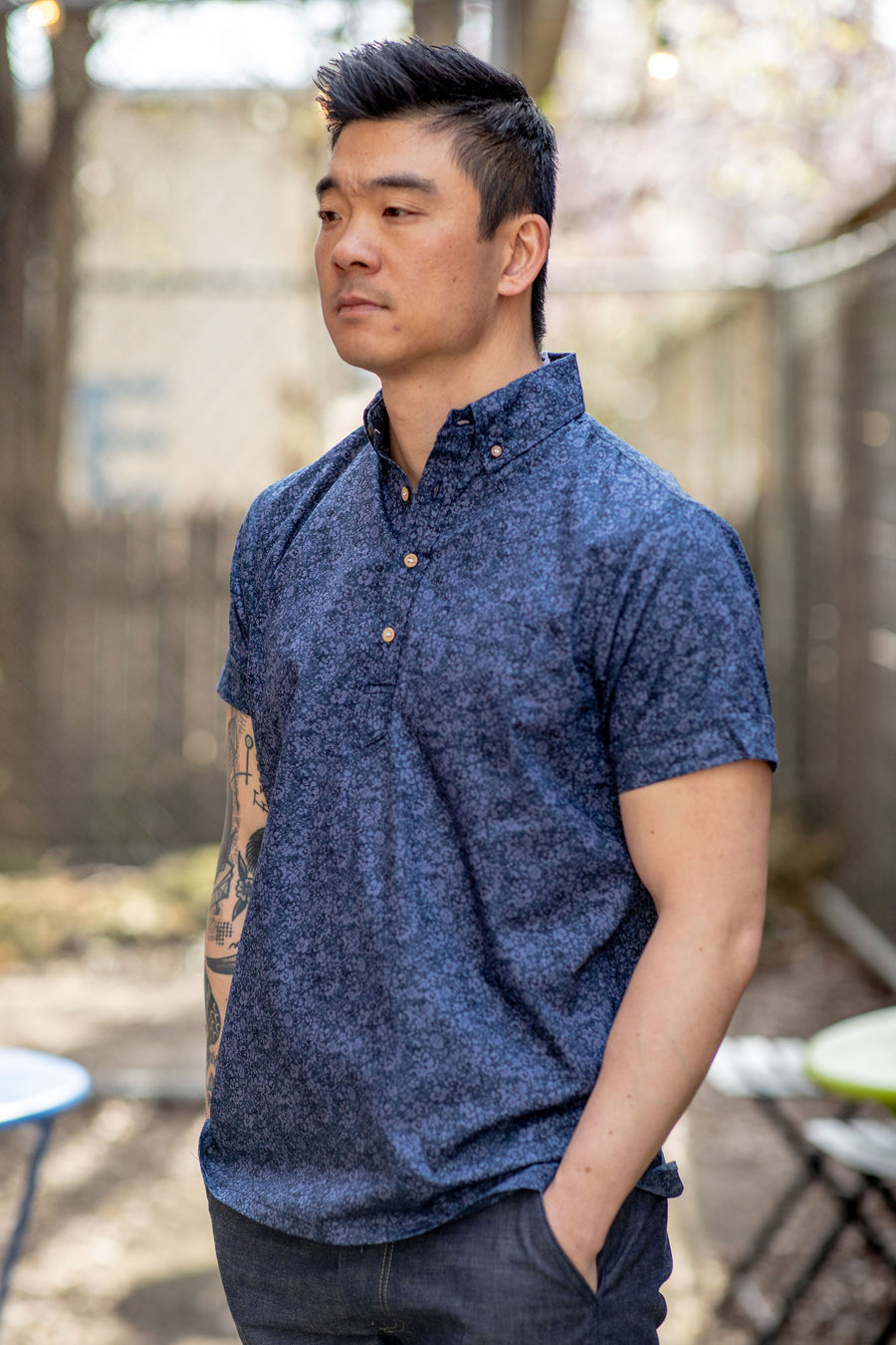 3sixteen Popover Shirt - Blue Floral