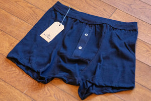 Merz b. Schwanen 255 Button Facing Underpants - Ink Blue - Franklin & Poe