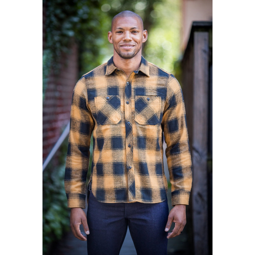 Rogue Territory Neppy Plaid Flannel BM Work Shirt - Gold