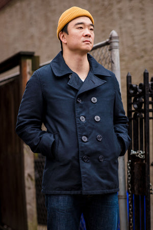 Iron Heart IHM-31-NAV Whipcord Pea Coat - Navy