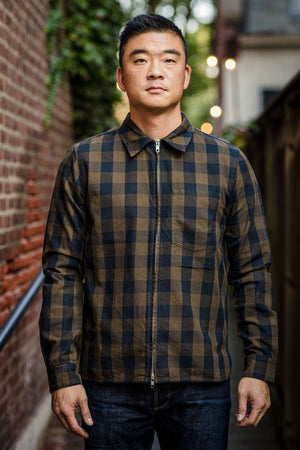 C.O.F. Studio Zip Jacket - Gingham Olive
