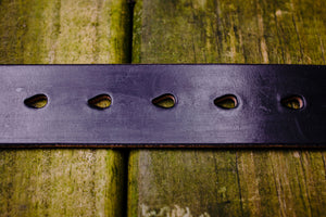 Hollows Leather Trail Belt - Black English Bridle Brass Buckle