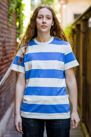 TSPTR Border Stripe Tee - Antique White/Royal