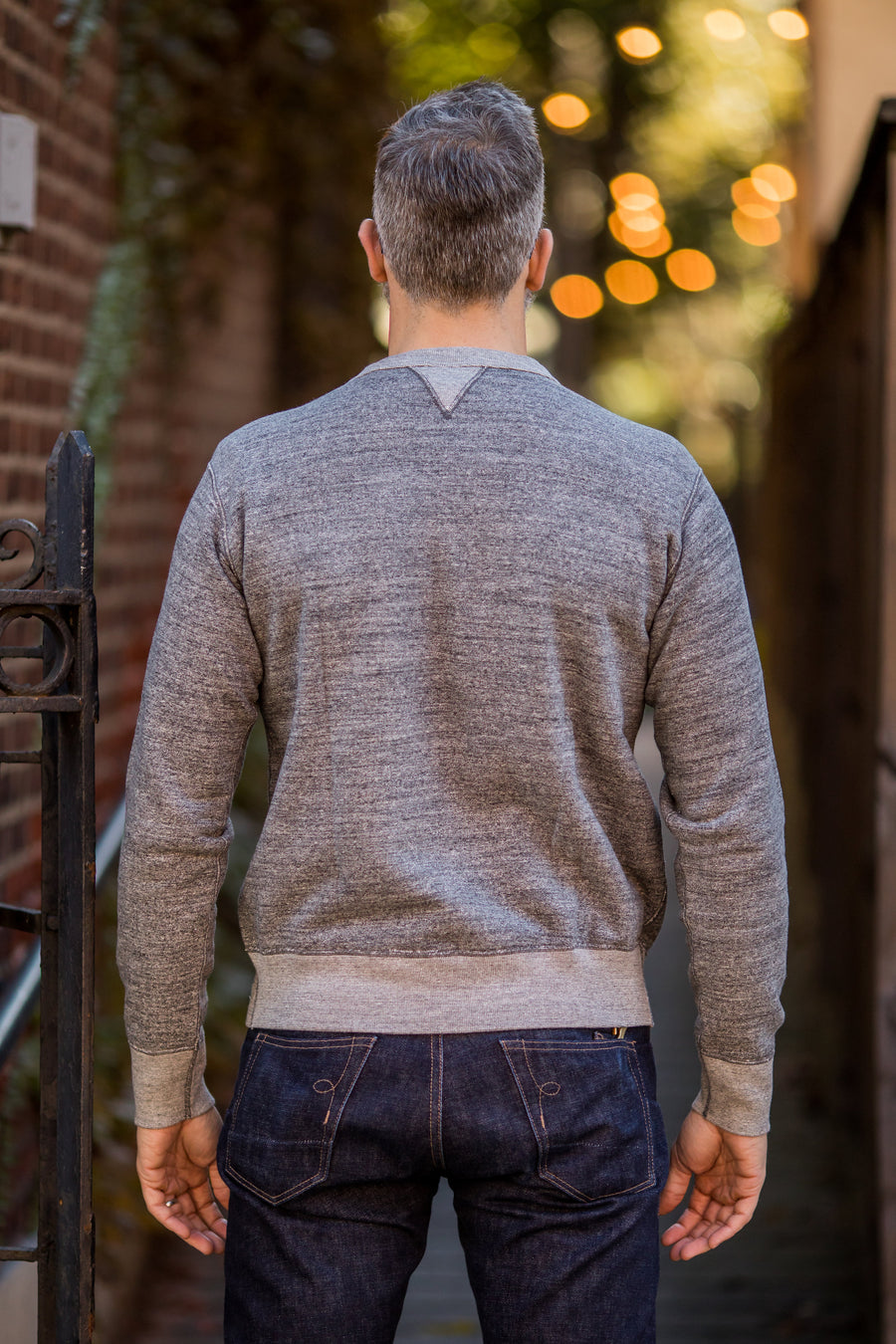 Iron Heart IHSW-34 Heavy Loopwheeled Fleece Lined Sweater - Grey Marl - Franklin & Poe