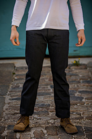 Indigofera Swearengen Pant - Grey/Black Hickory Stripe - Franklin & Poe