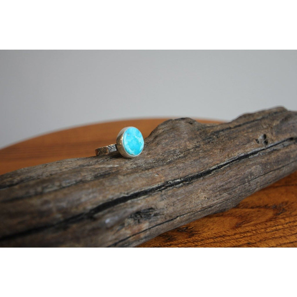 Numi Olive White Water Turquoise Chevron Ring
