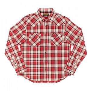 Iron Heart IHSH-259-RED Ultra Heavy Flannel Crazy Check Western Shirt - Red