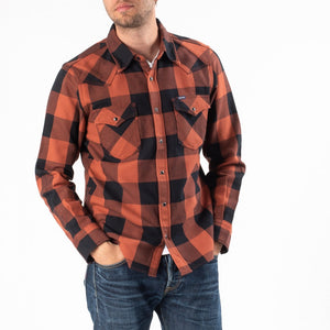 Iron Heart IHSH-247-RED Check Western Shirt - Red/Dark Indigo