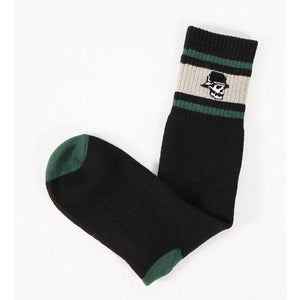 Left Field NYC Skull Head Stripe Tube Sock - Grey/Green/Black - Franklin & Poe