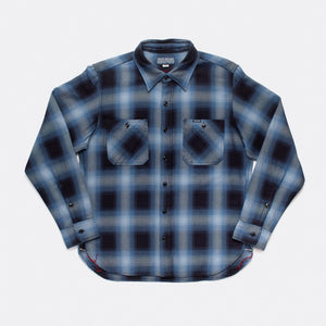 Iron Heart IHSH-277-IND 9oz Selvedge Ombré Check Work Shirt - Indigo