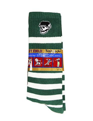 Left Field NYC Skull Head Stripe Tube Sock - Green and White